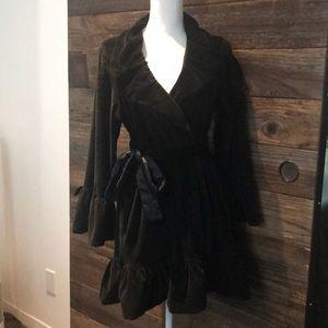 Betsy Johnson Intimates black velour ruffle robe
